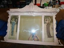 LARGE ANTIQUE OVER MANTEL MIRROR & 2 ABBEY ALTSON SIGNED WATERCOLOUR PANELS 1903